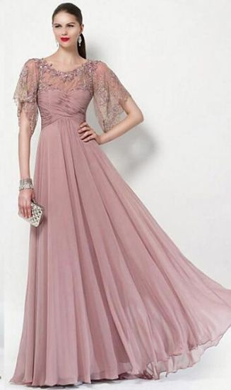 Chiffon Lace Mother of The Bride Dress Blush Beads Formal Prom Evening Dresses B1411 pictures & photos