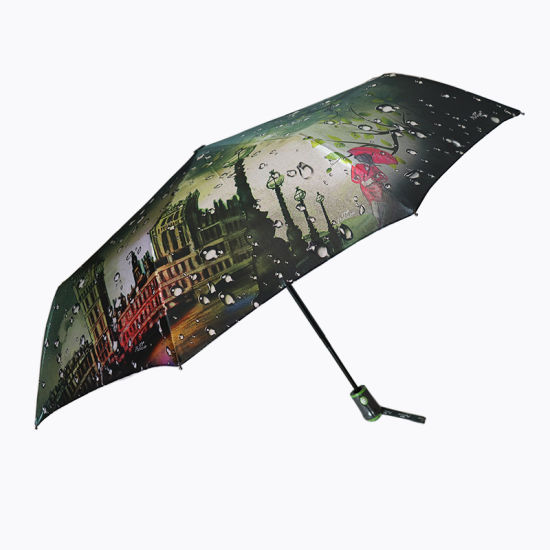 23inch Pongee Soild Fabric Auto Open and Close Umbrella Creative 9 Ribs Windproof Colorful 3 Folding Umbrella (YZ-19-09)