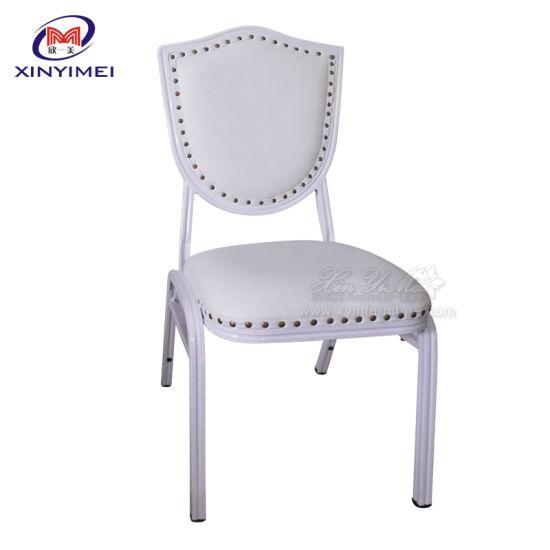 Wholesale Antique White PU Leather Rivet Banquet Chair