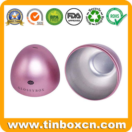 Decorative Horizontal Cut Metal Egg Shaped Chocolate Candy Confectionery Tin Box for Christmas Gift pictures & photos