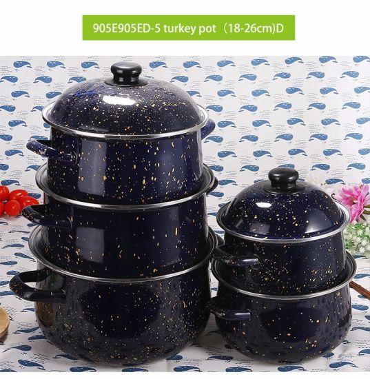 5PCS Enamel Casserole Cookware Cooking Pot Set