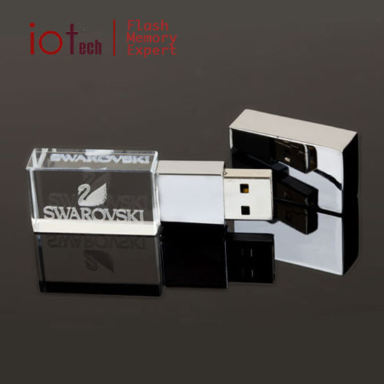 OEM Logo Glass Crystal USB Flash Drive 8GB with LED Light pictures & photos