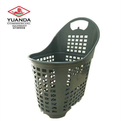 Supermarket Plastic Roll Shopping Basket with Wheels pictures & photos
