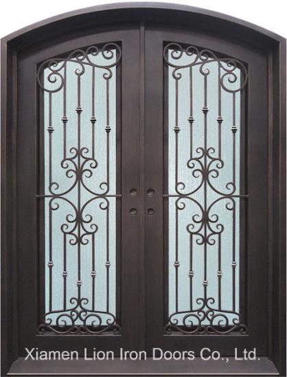 China Double Glazed Iron Exterior Wrought Iron Entry Door With Rain