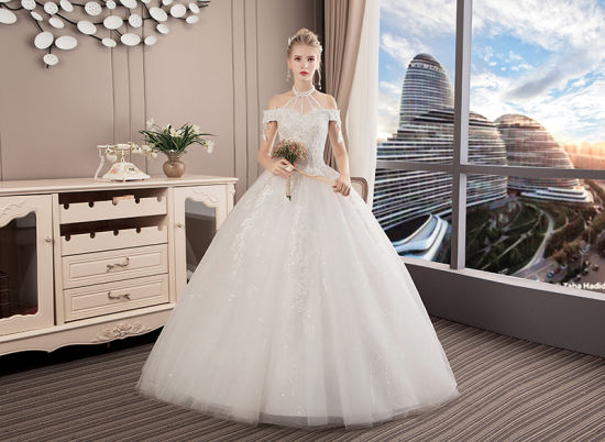 off Shoulder Ball Gowns Lace Beaded Puffy Bridal Wedding Dresses 2018