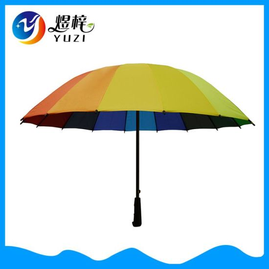 Wholesale Promotional Auto Opening Straight Rainbow Umbrella