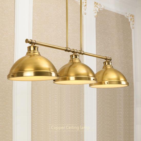 China 3 Head Copper Pendant Lighting, Brass Pendant Lamp