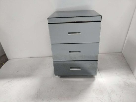 China Mirrored Bedside Chest Cabinet 3 Drawers Glass Bedroom ...
