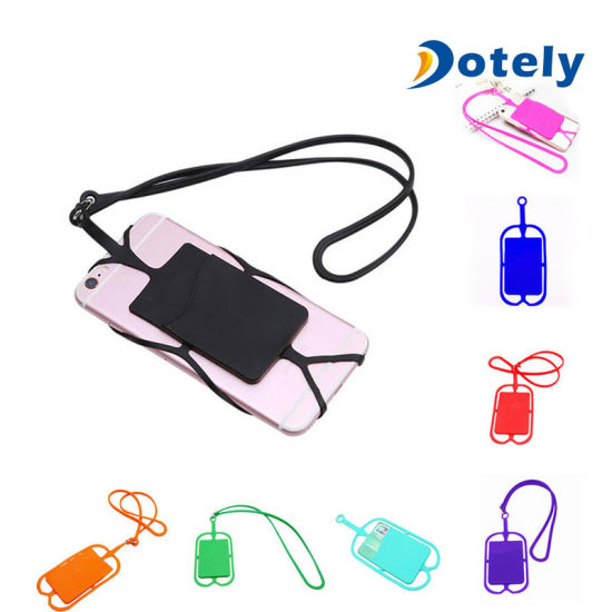 low priced 08ea8 8924a Detachable Silicone Lanyard Cell Phone Case Holder Neck Strap with ID Card  Slot