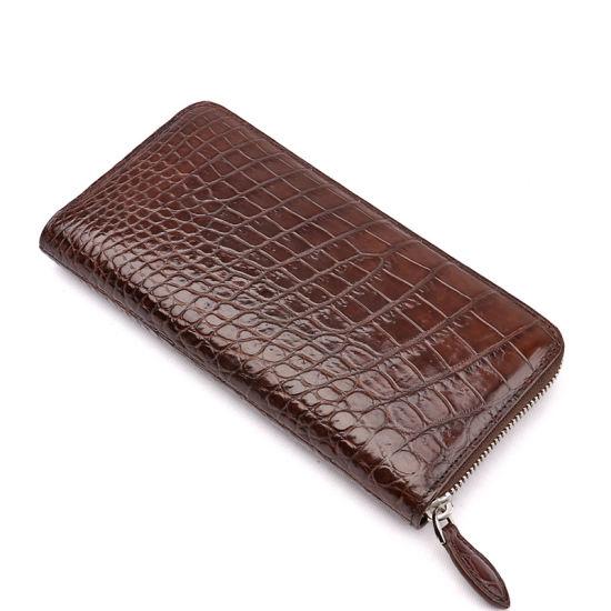 Men Leather Wallet Genuine Crocodile Belly Skin Clutch Travel Wallet