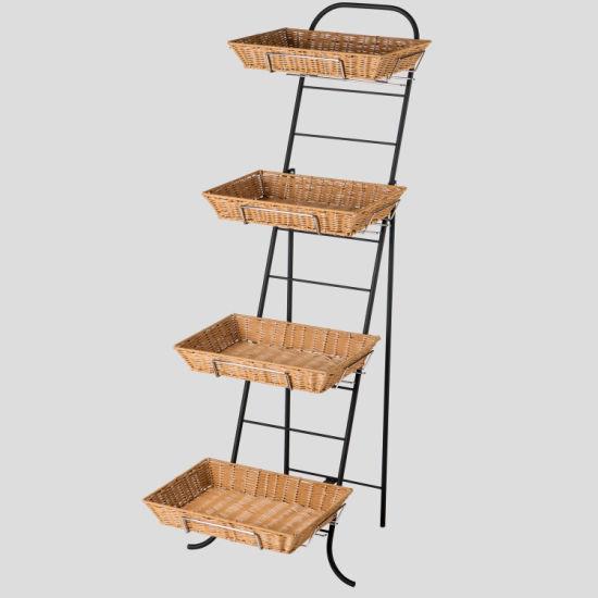 Foldable Inclined Rattan Basket Rack