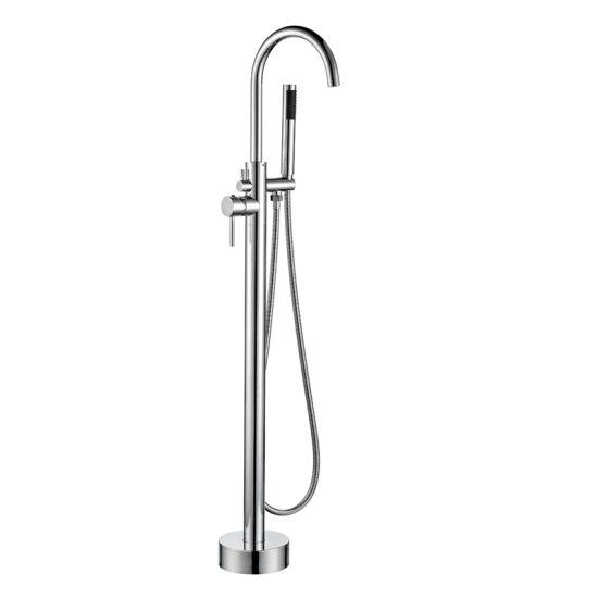 Chrome Freestanding Bath Tub Hand Held Shower Faucet Floor Mount
