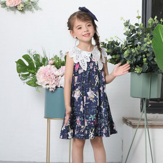 Children Flower Girl Dress Casual Dress Cotton Dress with Lace Neck