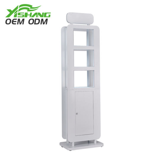 Floor-Type Upright Column Display Merchandising Case Cabinet, Cosmetics Store Exhibition Showcase, Makeup Display Rack