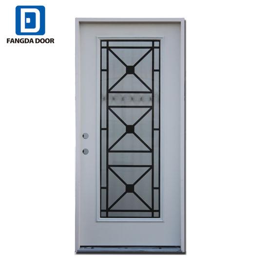 One and Half Exterior Steel Door with Decorative Tempered Glass