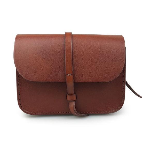 Lady Fashion Saddle Bag Vegetable Tanned Leather Crossbody Bag