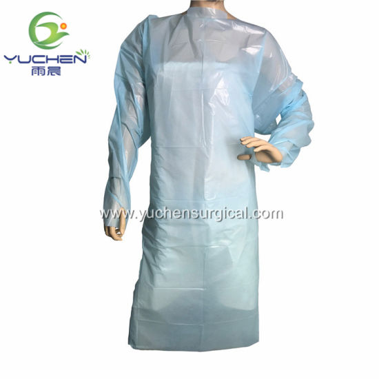 CPE Gowns with Thumb Loop/Waterproof PE Film Material