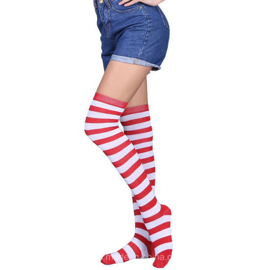 Fashion Women Teen Girls Polyester Over Knee Colorful Stripe Sexy Stocking