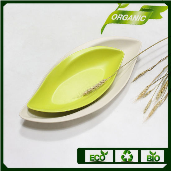 Reusable Dinnerware Set Bamboo Fiber Leaf Plates Restaurant pictures & photos