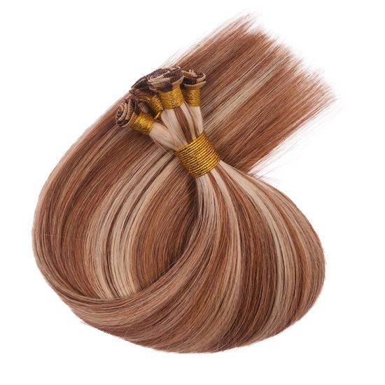 Cheap Virgin Hair Extension 100% Remy Human Flat Weft Hair and Hand Tied