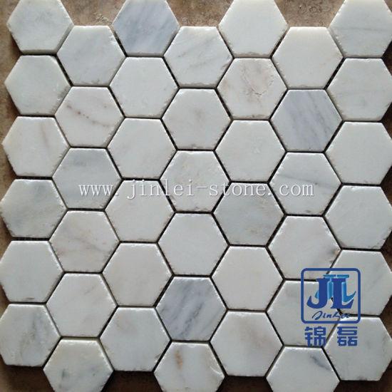 Natural Stone Bianco Carrara Marble Mosaic / Marble Mosaic Tile for Paving Stone/Garden Yard/Wall