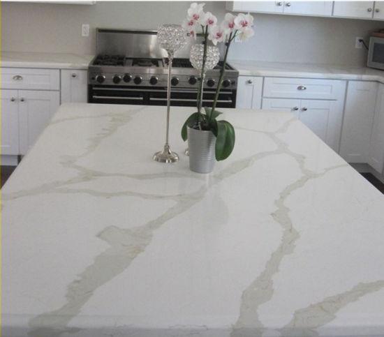 Custom White Calacatta Artifical Quartz Stone Countertop for Kitchen Island