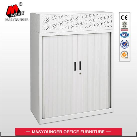 China Roller Shutter Door Metal Cupboard With 2 Adjustable Shelf