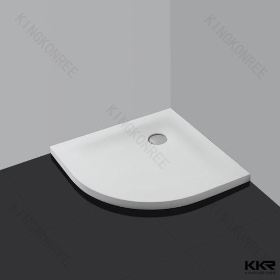 Bathroom Anti-Slip Sector Solid Surface Corner Shower Tray