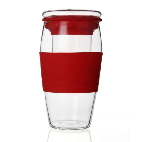 600ml Sport Tea Cup with Infuser Portable Glass Tea Cup with Silicone Sleeve Sport Glass Cup