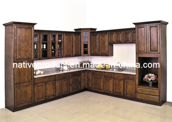 China American Solid Wood Birch Kitchen Cabinet (stained