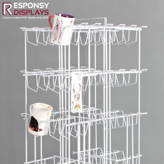 Rotating Iron Bottle Rack Floor Metal Cup Display Stand with Wheels pictures & photos