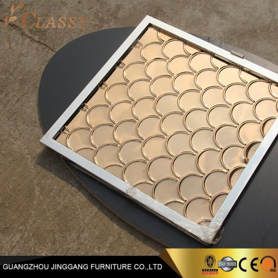Golden Stainless Steel Folding Screen for Hotel Interior Furniture