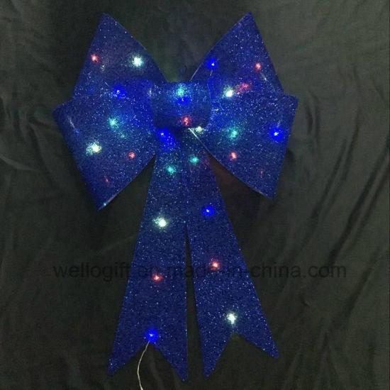 giant silver pre lighted christmas decoration bow cbb 1115
