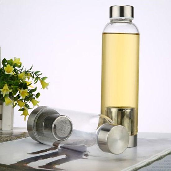 Travel Custom Borosilicate Glass Water Bottle 280ml 360ml 420ml 550ml Drinking Glass Clear Tea Tumbler Insulated Sleeve