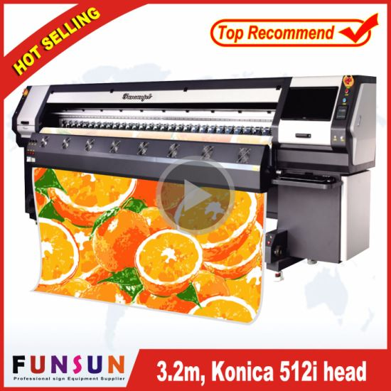 Funsunjet Fs-3208K Big Heavy Duty Large Solvent Inkjet Printer with Seiko 512I Head, 240sqm/H PVC Banner Printer