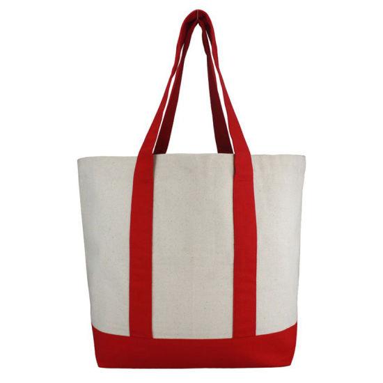 Logo Printing Canvas Shopping Beach Bags with Big White