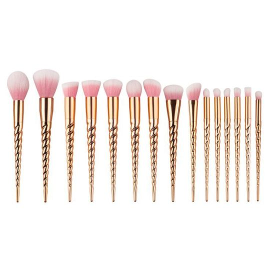 15 Pieces Unicorn Rose Gold Custom Logo Makeup Brushes pictures & photos