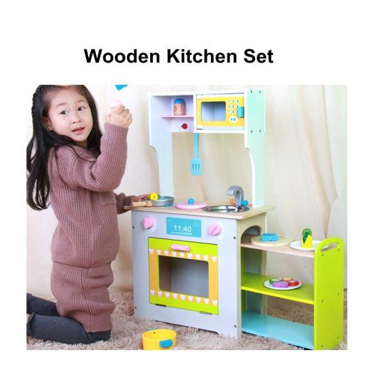 China Wooden Kids Kitchen Cooking Pretend Play Set Children ...