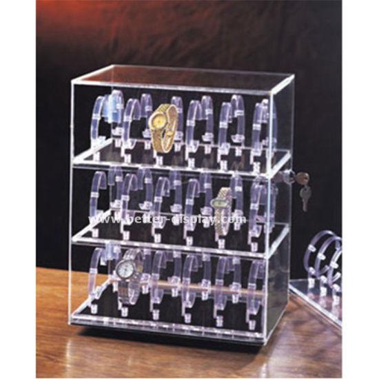 China Clear Glass Acrylic Watch Display Cabinet - China