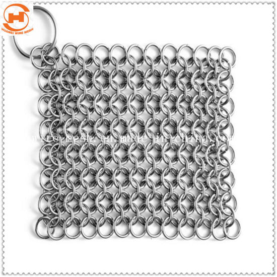 Stainless Steel 316 Chainmail Scrubber Cast Iron