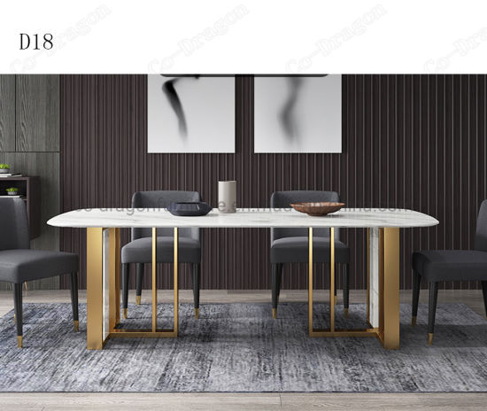 China Italian White Marble Nordic Rectangular Stainless Steel Legs 4 Seater Luxury Dining Table China Dining Table Marble Table