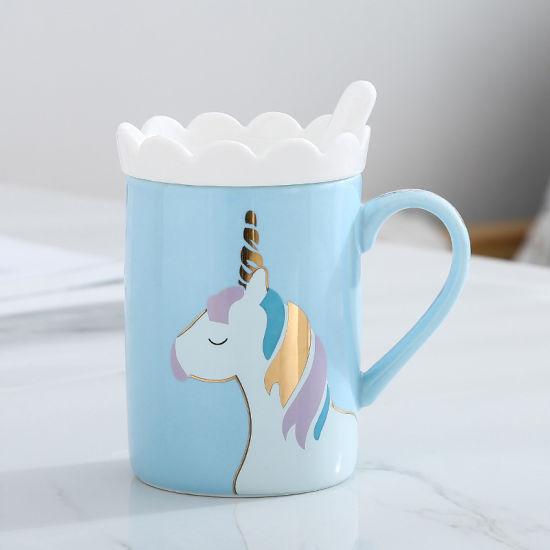 Creative Unicorn Mug Ceramic Mug with Cover and Spoon Office Gift Mug