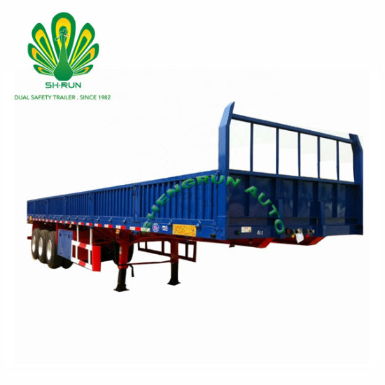 3 Axles 50tons Flatbed Side Wall Semi Trailer