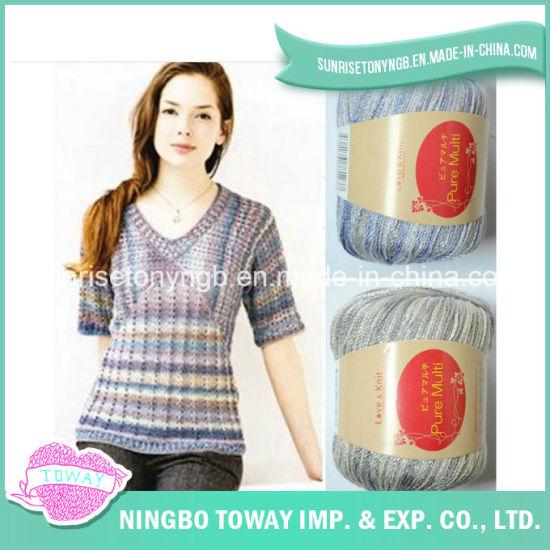 Wholesale Hand Knitting Colorful Soft Thin Acrylic Wool Nylon Fancy Yarn