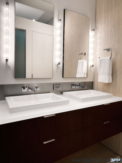 Woodgrain Flat Panel Double Sink Mirror Cabinets for Bathrooms pictures & photos
