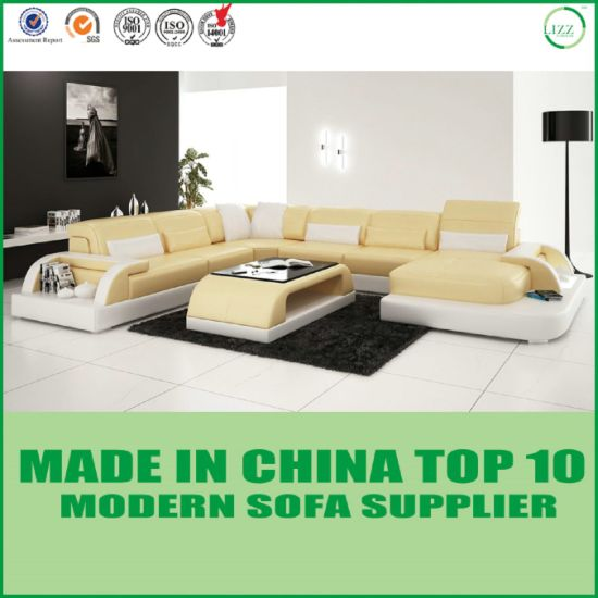 Modern Living Room Leather Corner Couches pictures & photos