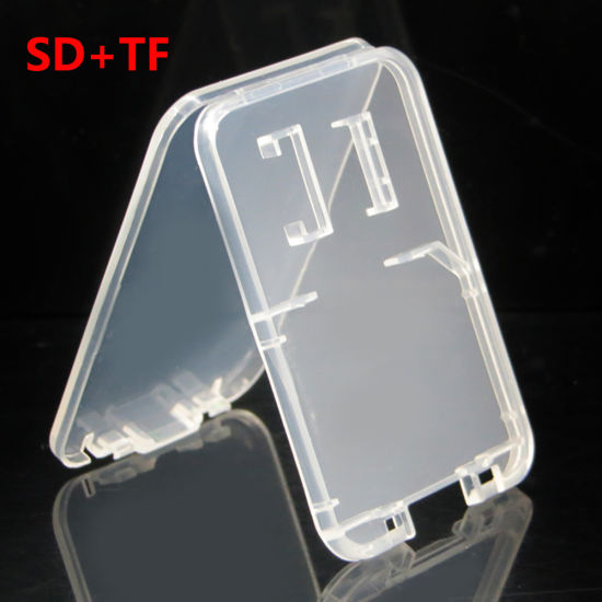 Super Thin 2 in 1 Protective Transparent Plastic Memory Card Case for SD Micro SD Card
