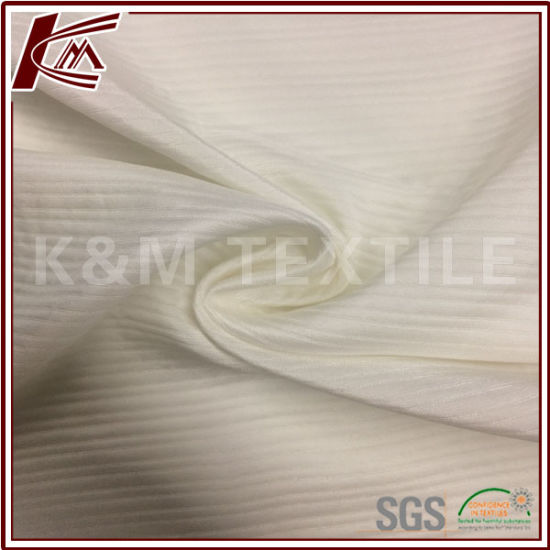 100% Silk White Stripe Jacquard Pure Silk Fabric