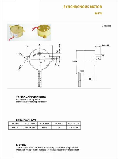 China High Quality Ty-60b Synchronous Motor - China Synchronous ...
