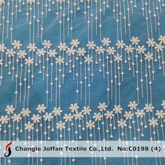 Home Textile Polyester Embroidery Lace Fabric for Sale (C0198)